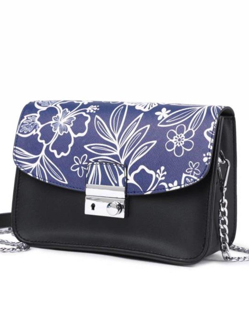 Crossbody Janice Flap Hibiscus Blossom Blue