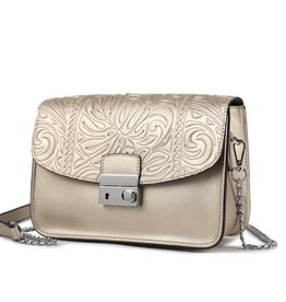 Crossbody Janice Flap Monstera Embossed Gold
