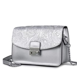 Crossbody Janice Flap Hibiscus Embossed Silver