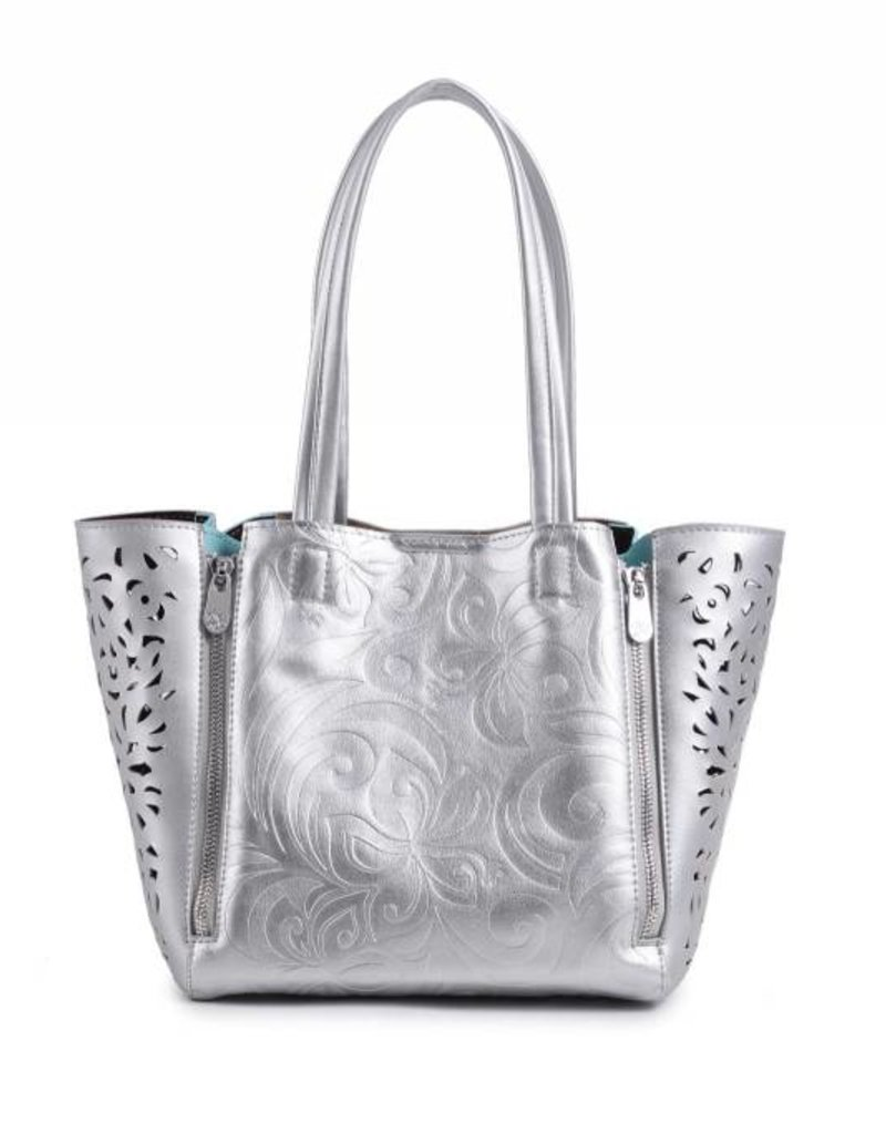 Handbag Amy Hibiscus Silver Embossed Small