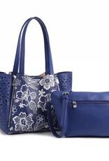 Handbag Amy Hibiscus Blossom Blue Large