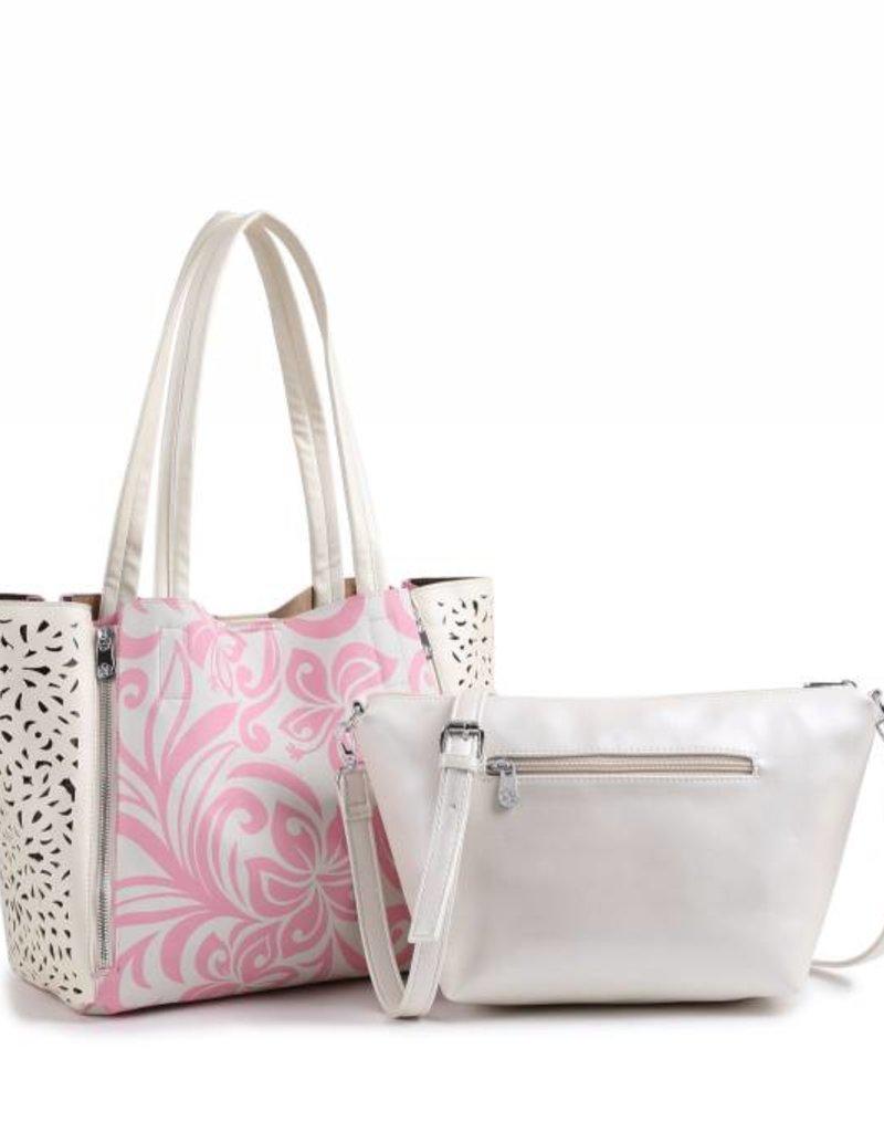 Handbag Amy Hibiscus Light Pink Large