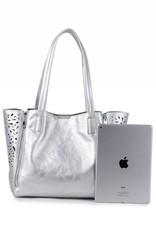 Handbag Amy Hibiscus Silver Embossed Large