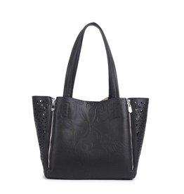 Handbag Amy Tapa Tiare Black Embossed Large