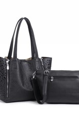 Handbag Amy Tapa Tiare Black Embossed Large
