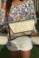 Clutch Victoria Monstera Gold Embossed