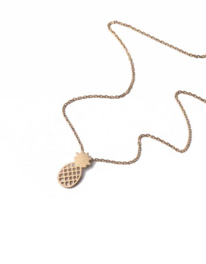 Necklace Aloha Pineapple Puka Silver