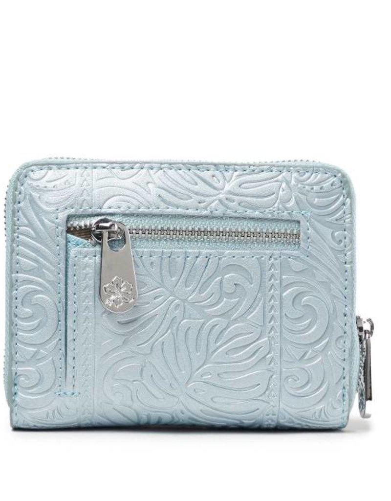 Wallet Meily Monstera Embossed Light Blue Metallic