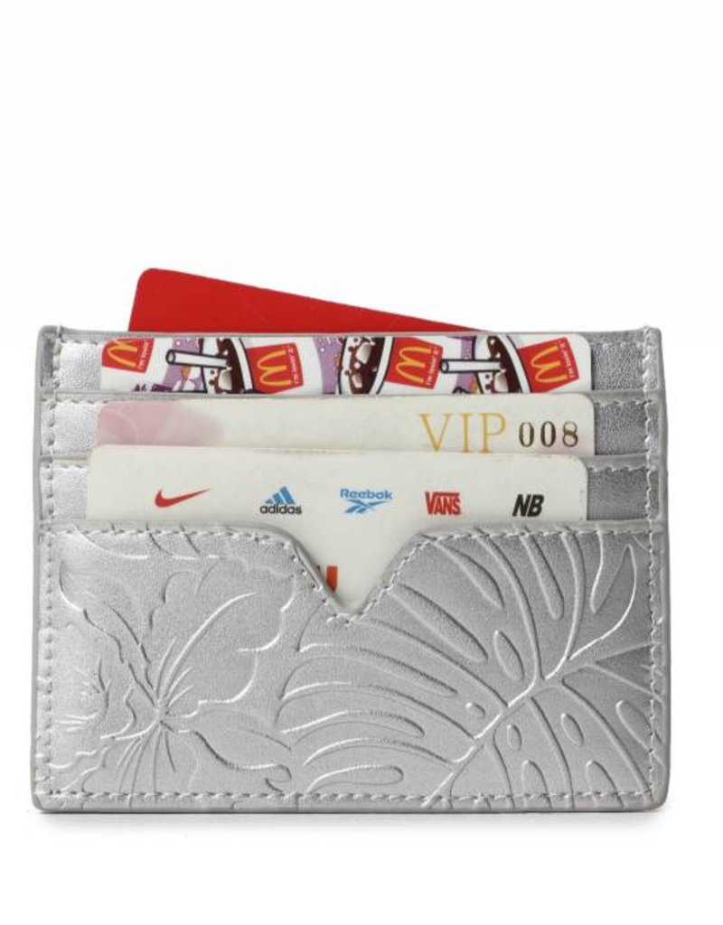 Card Case Meilany Monstera Orchid Silver