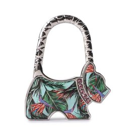 Purse Hook Dog Bird of Paradise Blue