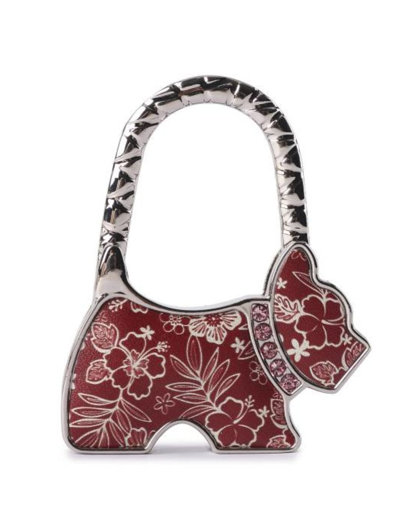 Purse Hook Dog Hibiscus Blossom Red