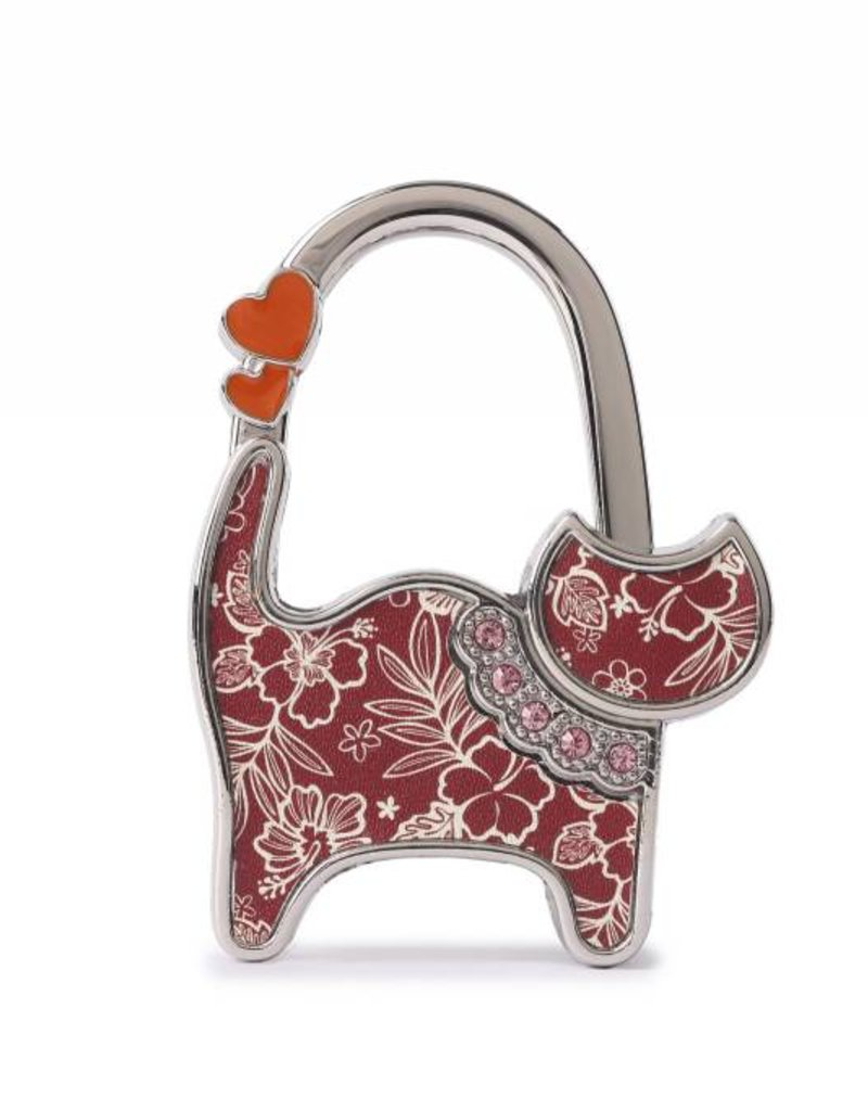 Purse Hook Cat Hibiscus Blossom Red