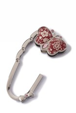 Purse Hook Butterfly Hibiscus Blossom Red
