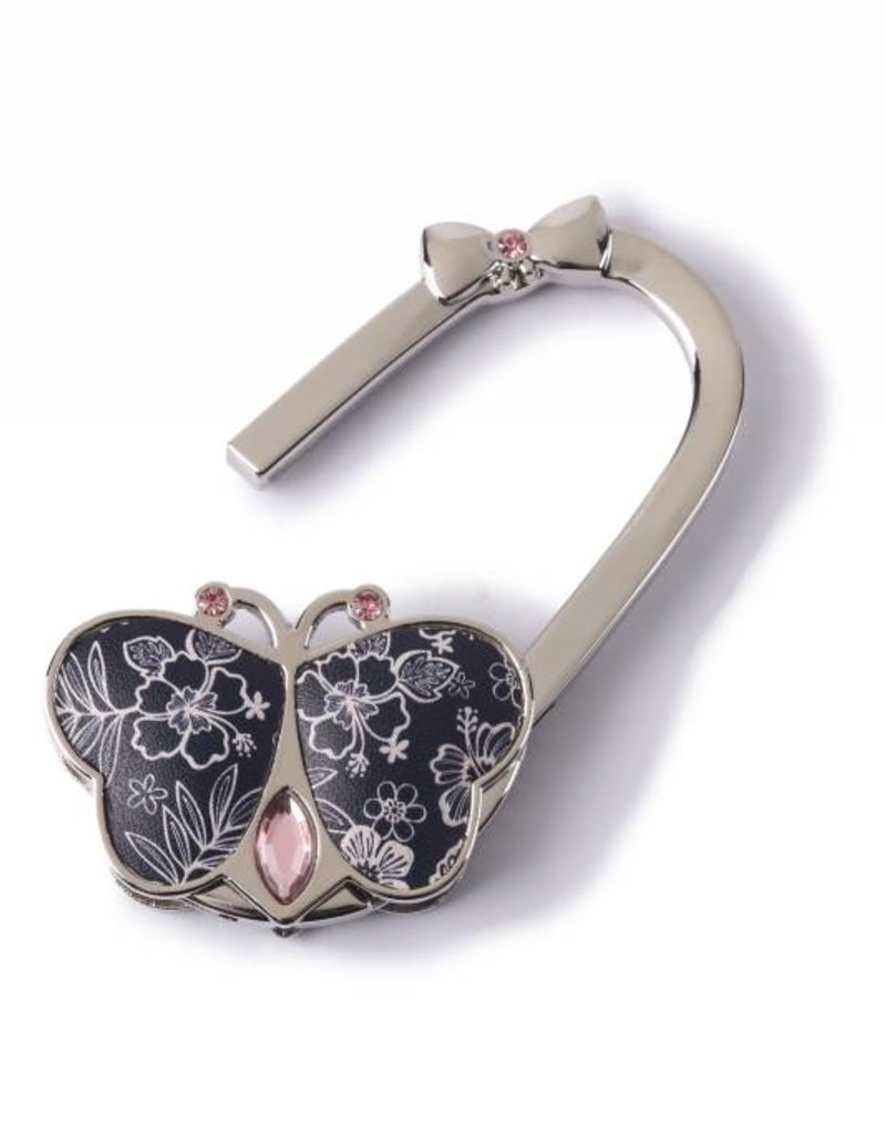 Purse Hook Butterfly Hibiscus Blossom Blue