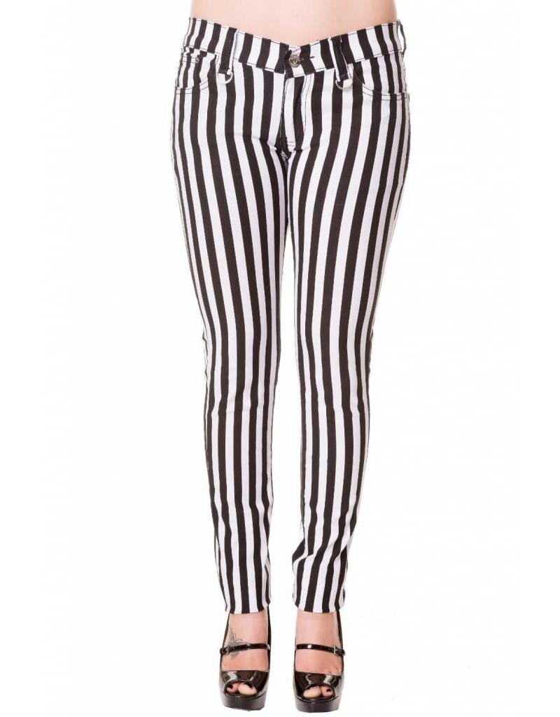 BANNED BANNED - Black and White Striped Pants