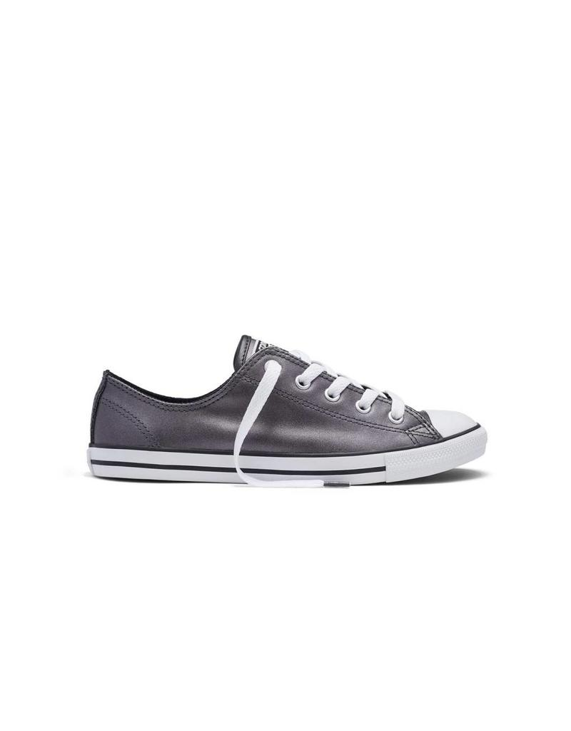 CONVERSE CHUCK TAYLOR DAINTY METALLIC LEATHER OX BLACK CC640DMB-553337C