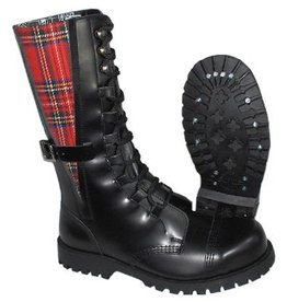 UNDERGROUND UNDERGROUND BOOT BLACK CHECKERED STRIPE 10 EYELETS STEELTOE U10TSTROKE