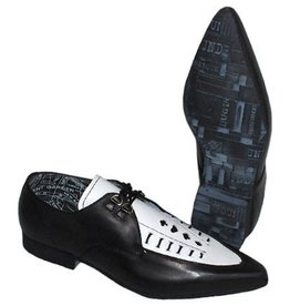 UNDERGROUND UNDERGROUND SHOE BLACK AND WHITE LEATHER POINTY UP1136