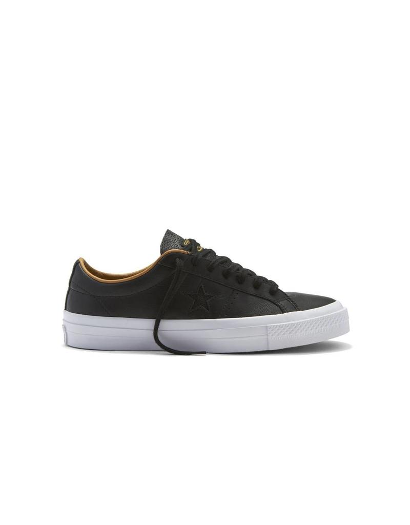 CONVERSE ONE STAR LEATHER OX BLACK/SAND DUNE CC686SAB-153701C