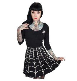 KREEPSVILLE 666 - Spiderweb White Skater Dress