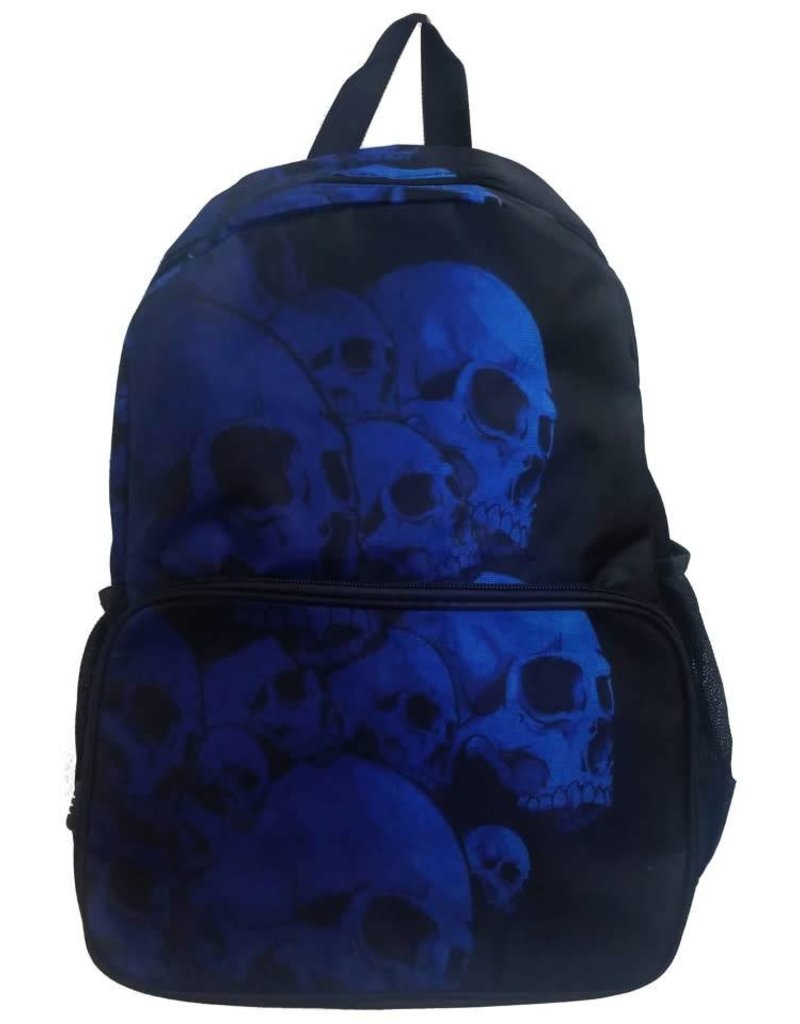 BANNED - Electric Blue Skulls BackPack