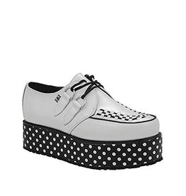 CREEPERS LEATHER BLACK/WHITE POLKA DOTS TRIPLE SOLE T15WD-A8637