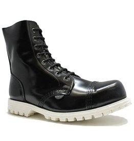 UNDERGROUND UNDERGROUND BOOT BLACK 10 EYELETS STEELTOE WHITE SOLE U10TW