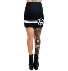 TOO FAST - Sporty-Gram Graffiti Pentagram & Stripes Mercy Mini Skirt