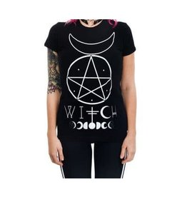 TOO FAST Witch Wiccan Pentagram & Moon T Shirt