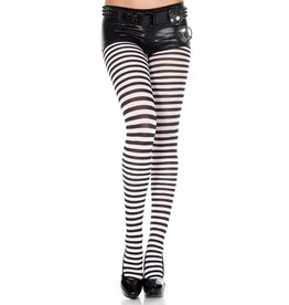 MUSIC LEGS - Striped Tights Black/White