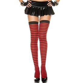 MUSIC LEGS - Red/Black Opaque Striped Thigh Hi