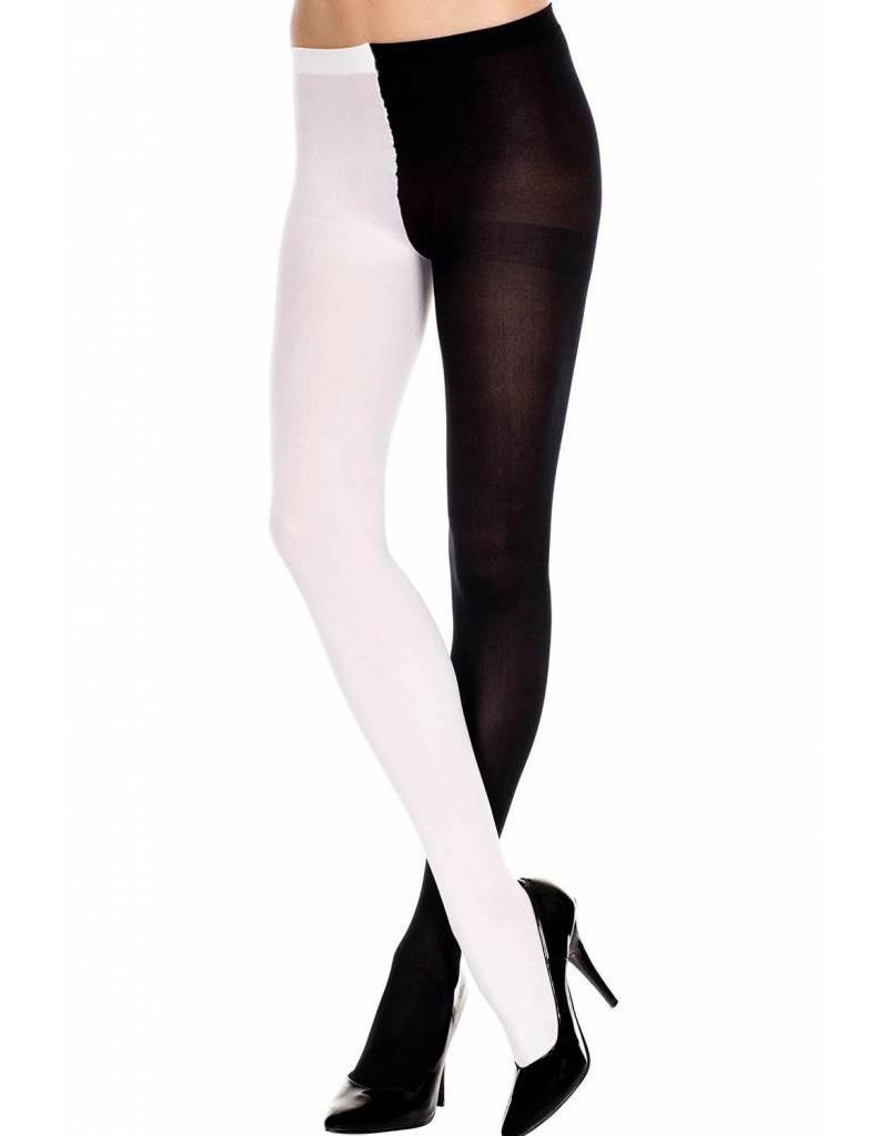 MUSIC LEGS - Black/White Opaque Jester Tights