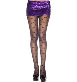 MUSIC LEGS - Bow Print Sheer Spandex Pantyhose