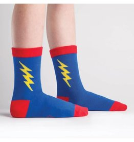 SOCK IT TO ME - Youth Super Hero! Blue/Yellow Crew Socks