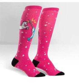 SOCK IT TO ME - Women's Unicorn vs. Narwhal Knee High Funky Socks