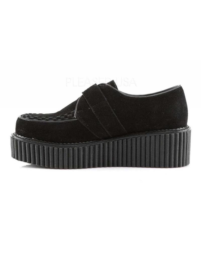 "DEMONIA 2"" Platform Black Monk Creeper w/D Shaped Buckle-D6VBS"