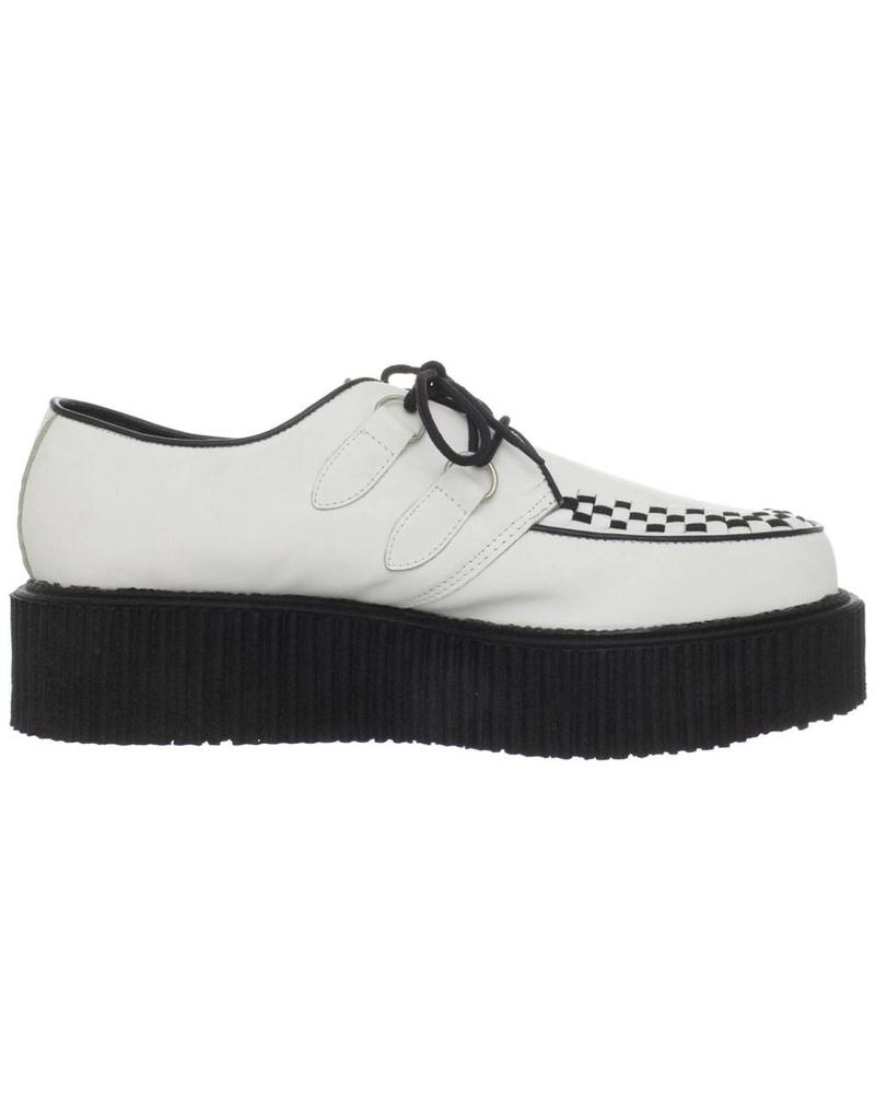 "DEMONIA 2"" Platform White Leather Creeper-D2W"