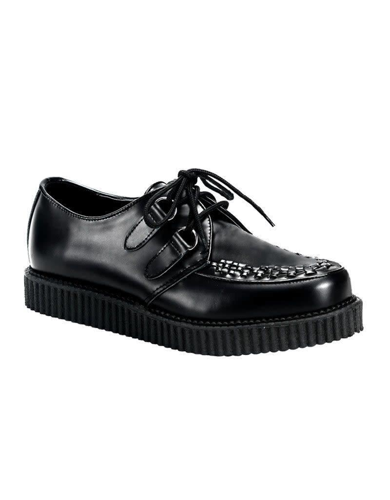 "DEMONIA 1"" Platform Black Leather Creeper-D1B"