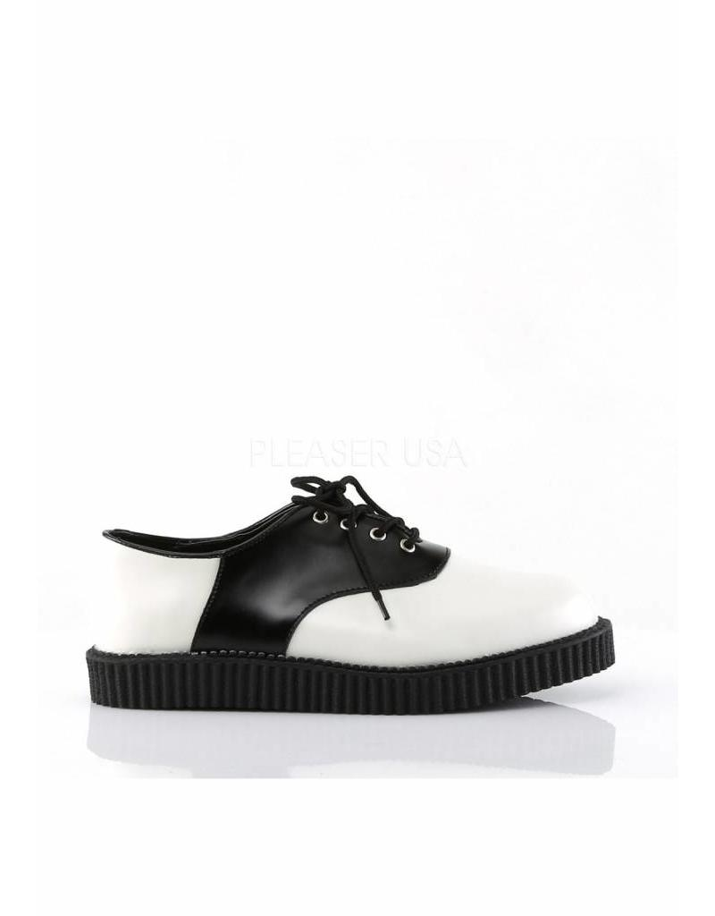 "DEMONIA 1"" Platform 4-Eyelet B/W Lace Saddle Leather Creeper-D5BW"