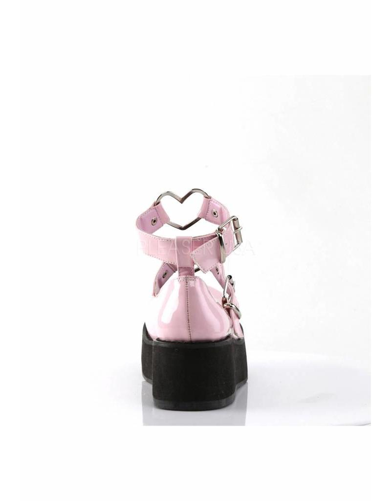 "DEMONIA 2 1/4"" Platform Pink Mary Jane w/Heart O-Rings & Studs Detail-D11PPH"