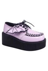 "DEMONIA 3"" Platform Vegan Leather Lavender Creeper w/Bat Wings Detail-D10VLW"