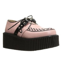 "DEMONIA 3"" Platform Pink Creeper w/Heart O-Ring & Spikes Detail-D9VPH"