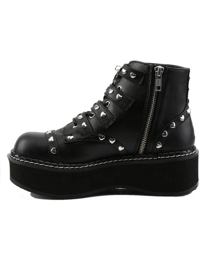 "DEMONIA 2"" Platform Vegan Lace-Up Front/Buckle Strap Ankle Boot Side Zip-D12VBS"