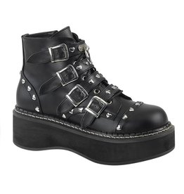 "DEMONIA EMILY-315 2"" Platform Vegan Lace-Up Front/Buckle Strap Ankle Boot Side Zip-D12VBS"