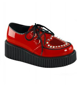 "DEMONIA CREEPER-108 2"" Platform Red Creeper w/Heart Cutout Design & Spikes Detail-D7PRH"