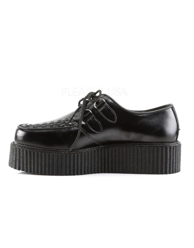 "DEMONIA 2"" Platform Black Vegan Leather Creeper-D3VB"