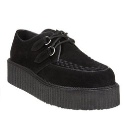 "DEMONIA CREEPER-402S 2"" Platform Black Suede Creeper-D2SB"
