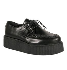 "DEMONIA CREEPER-402 2"" Platform Black Leather Creeper-D2B"