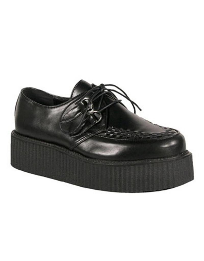 "DEMONIA 2"" Platform Black Leather Creeper-D2B"