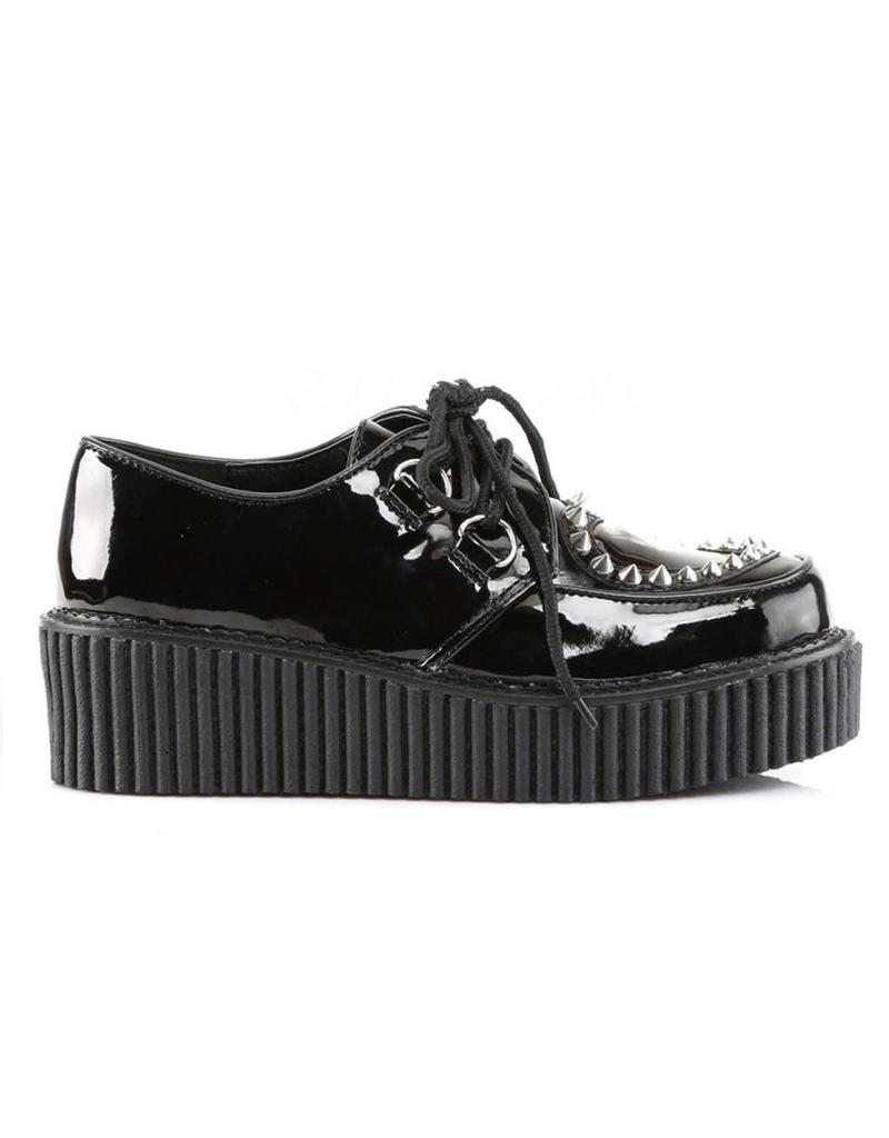 "DEMONIA CREEPER-108 2"" Platform Black Creeper w/Heart Cutout Design & Spikes Detail-D7PBH"